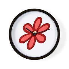 Flower Power Red Wall Clock