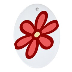 Flower Power Red Oval Ornament