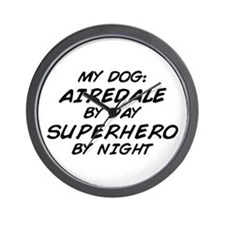 Airedale Superhero by Night Wall Clock