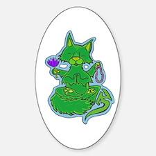 Buddhist Kitty Oval Decal