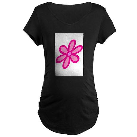 Flower Power Pink Maternity Dark T-Shirt