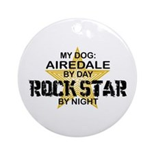 Airedale Rock Star by Night Ornament (Round)