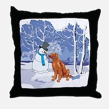 Snowman & Irish Setter Holiday Throw Pillow
