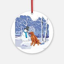 Snowman & Irish Setter Holiday Ornament (Round)