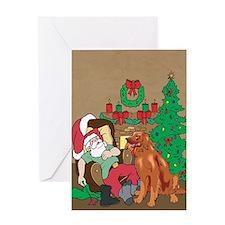 Santa Has An Irish Setter Christmas Greeting Card
