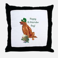 St Patricks Day Irish Setter Throw Pillow