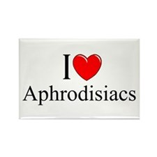 """I Love (Heart) Aphrodisiacs"" Rectangle Magnet"