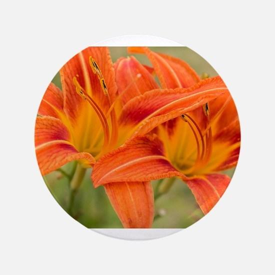 Orange Lilies Button
