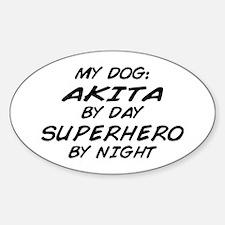 Akita Superhero by Night Oval Decal