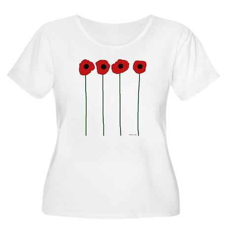 Poppies Women's Plus Size Scoop Neck T-Shirt