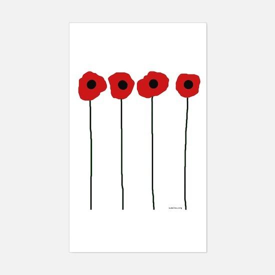 Poppies Sticker (Rectangle)