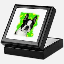 boston terrier dog in bubbles Keepsake Box