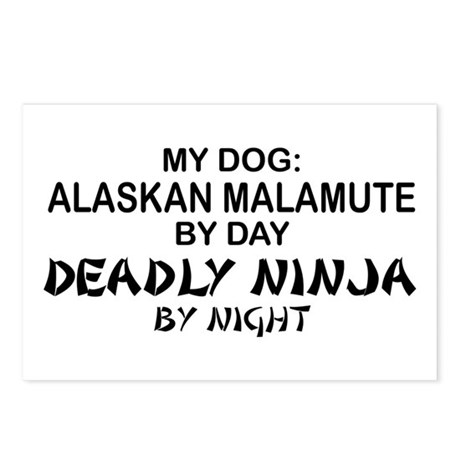 Alaskan Malamute Deadly Ninja Postcards (Package o