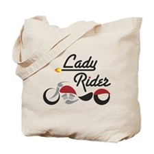 Red Bike Lady Rider Tote Bag