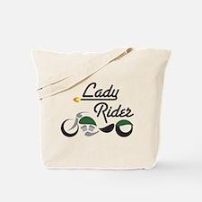 Green Bike Lady Rider Tote Bag