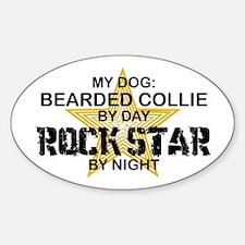 Bearded Collie RockStar Oval Decal