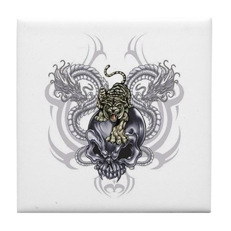 Tiger and Skull Tile Coaster