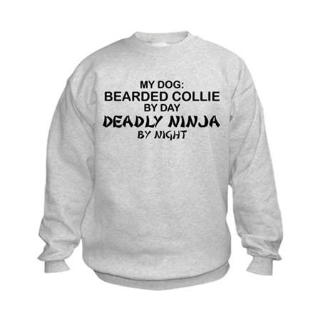 Bearded Collie Deadly Ninja Kids Sweatshirt