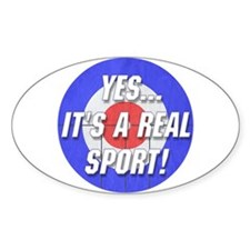 A Real Sport! Curling Oval Decal