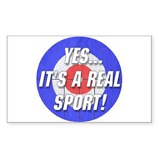 A Real Sport! Curling Rectangle Decal