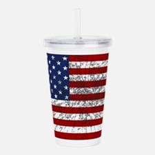 American Flag Grunged Acrylic Double-wall Tumbler