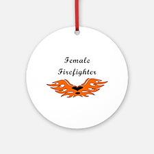 Female Firefighting Ornament (Round)
