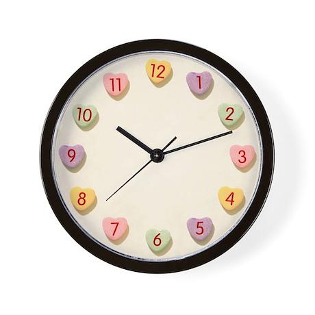 Retro Candy Hearts Love Wall Clock