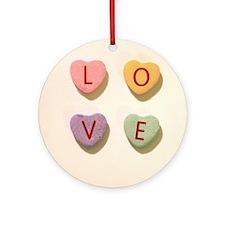Retro Candy Hearts Love Ornament (Round)