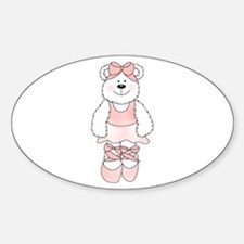 PINK BALLERINA BEAR Oval Decal