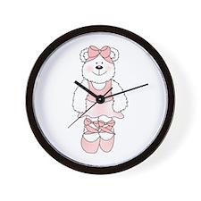 PINK BALLERINA BEAR Wall Clock