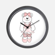 PINK BALLERINA BEAR Wall Clock
