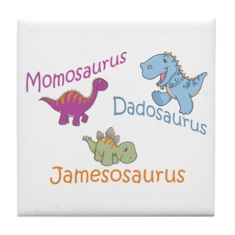 Mom, Dad & Jamesosaurus Tile Coaster