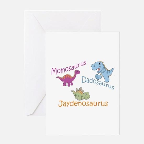 Mom, Dad & Jaydenosaurus Greeting Card