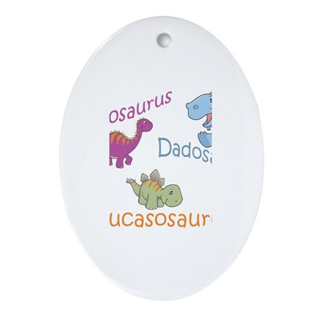 Mom, Dad & Lucasosaurus Oval Ornament