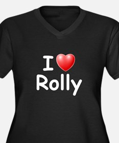 I Love Rolly (W) Women's Plus Size V-Neck Dark T-S