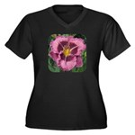 Macbeth Daylily Women's Plus Size V-Neck Dark T-Sh