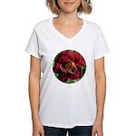 Night Embers Daylily Women's V-Neck T-Shirt