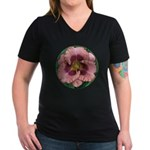 Daring Deception Daylily Women's V-Neck Dark T-Shi