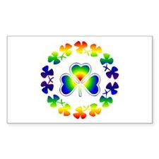 Clover Irish Rainbow Rectangle Decal