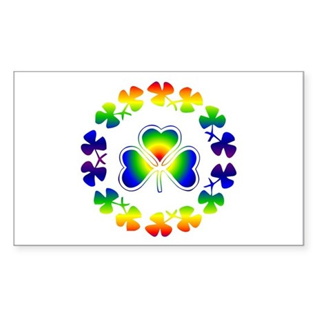 Clover Irish Rainbow Rectangle Sticker