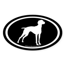 Vizsla Dog Oval (white on black) Oval Decal