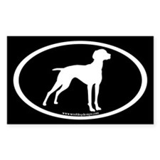 Vizsla Dog Oval (wh on blk) Rectangle Decal