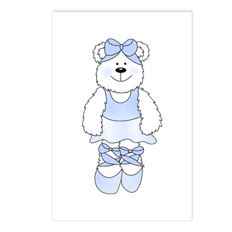 BLUE BALLERINA BEAR Postcards (Package of 8)