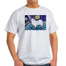 American Eskimo Dog cs moon Ash Grey T-Shirt