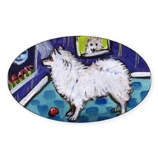 American Eskimo Dog cs moon Oval Decal
