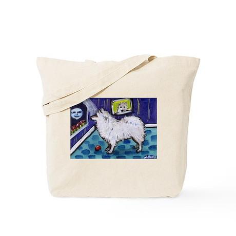 American Eskimo Dog cs moon Tote Bag