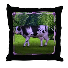 The Purple Cow Throw Pillow