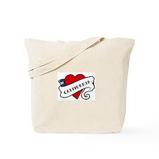 California tattoo heart Tote Bag