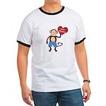 Love Monkey Boy Heart Ringer T