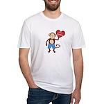 Love Monkey Boy Heart Fitted T-Shirt